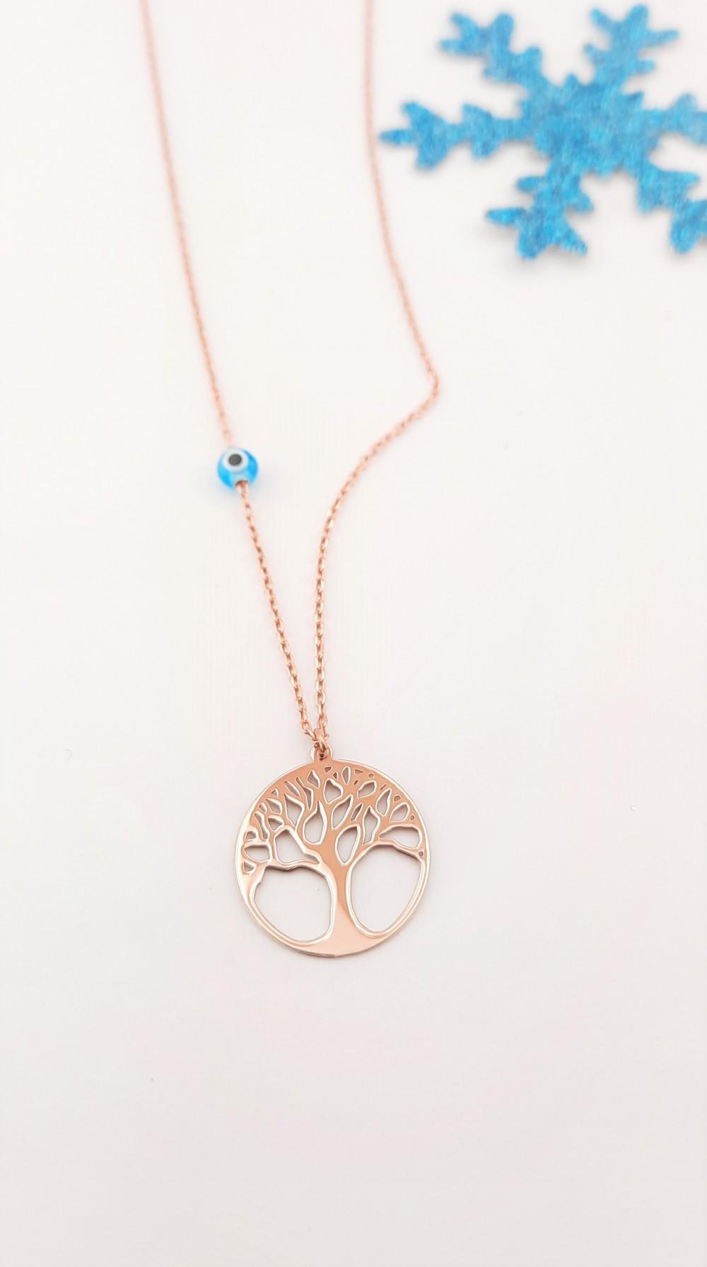 Küçük Hayat Ağacı Taşsız Rosegold Gümüş Kolye