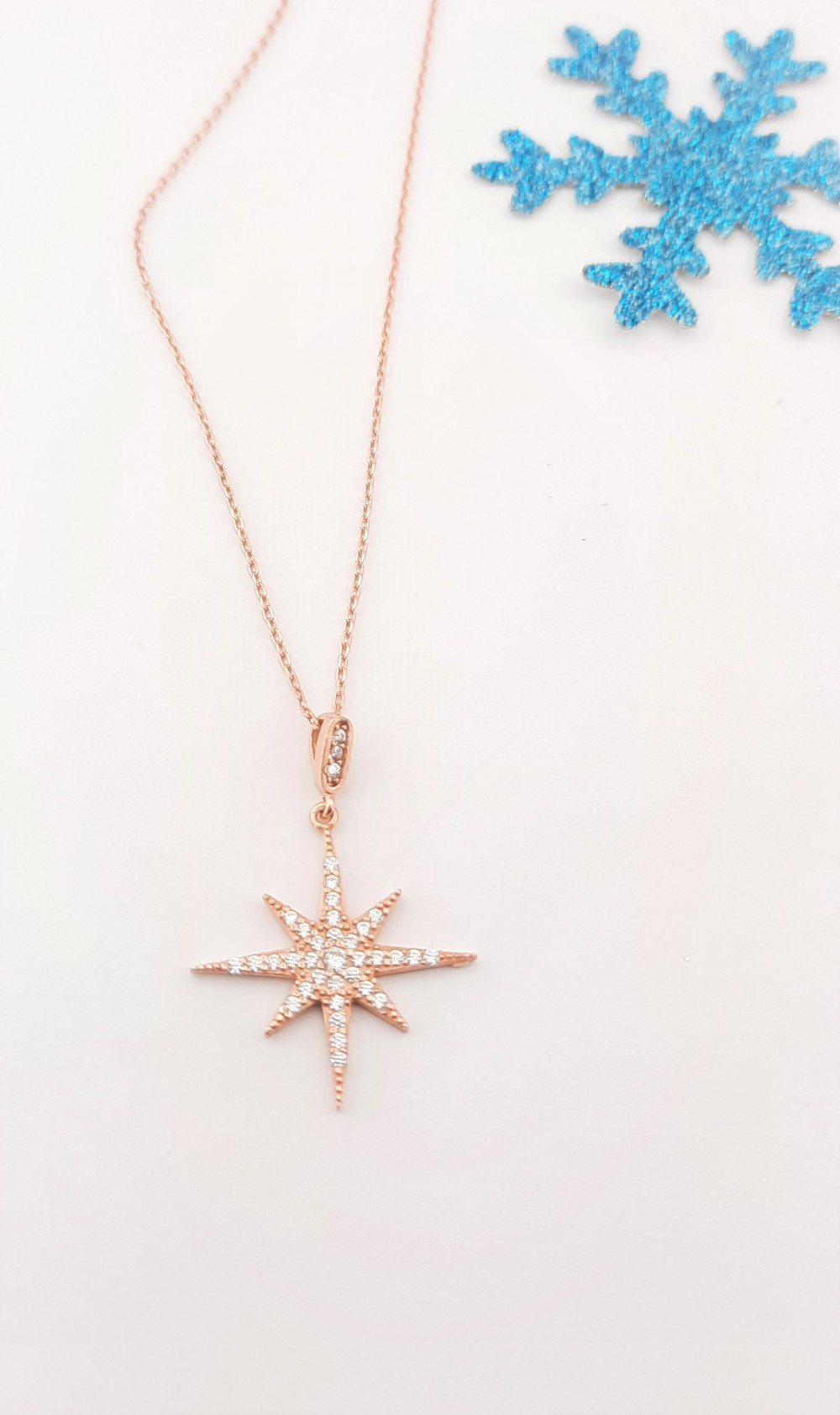Kutup Yıldızı Rosegold Gümüş Kolye