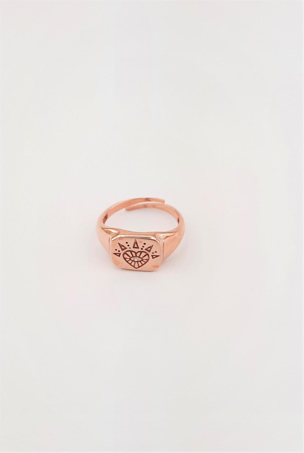 Kalp Desenli Serçe Parmak Yüzüğü