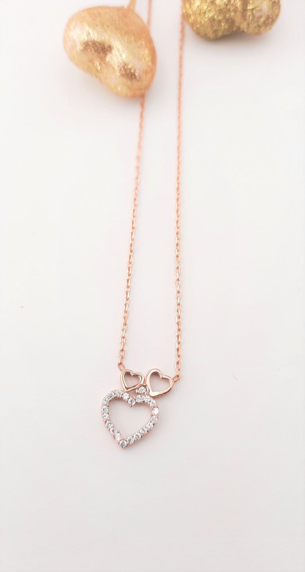 Minik Üçlü Kalp Gümüş Kolye