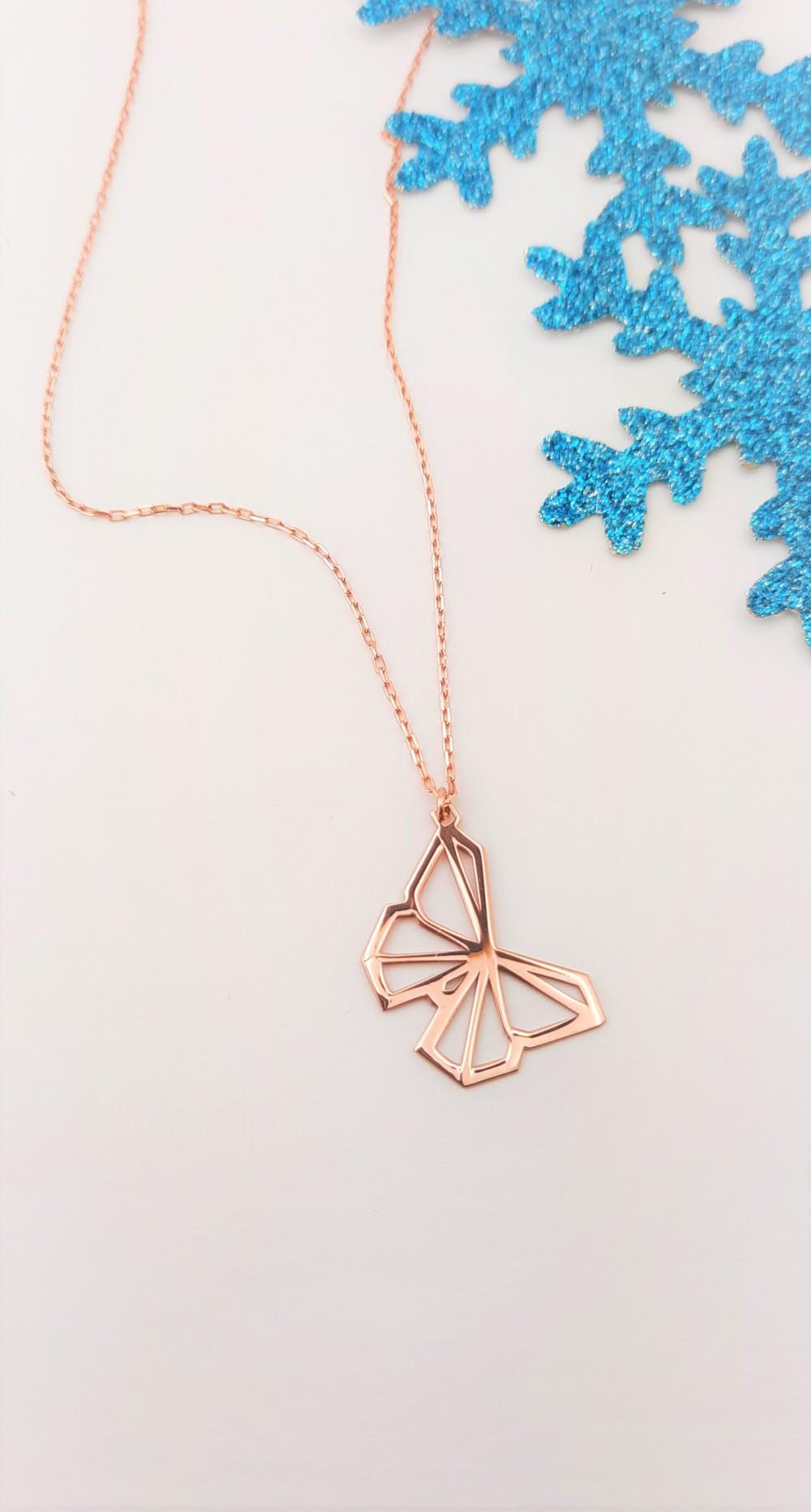 Origami Kelebek Rosegold Gümüş Kolye