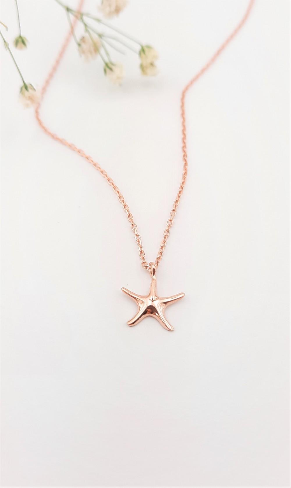 Taşsız Deniz Yıldızı Gümüş Kolye