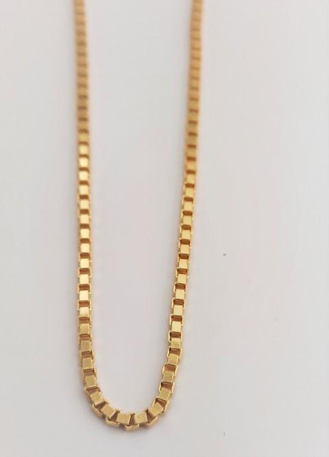 Gold Küp Zincir Gümüş Kolye
