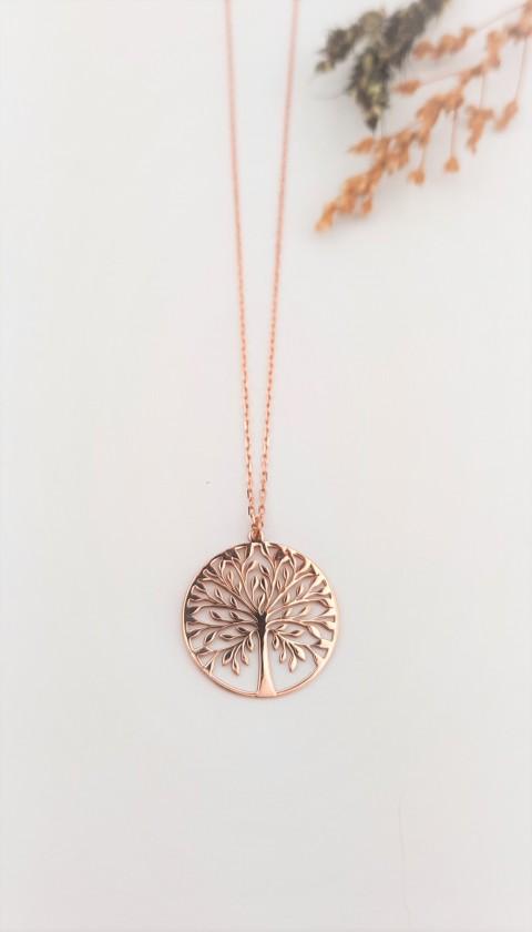 Hayat Ağacı Taşsız Rosegold Gümüş Kolye