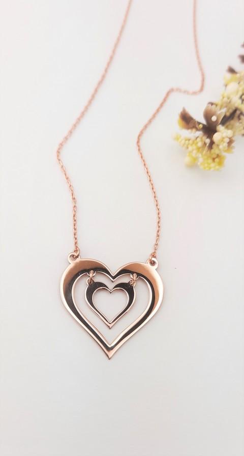 İç İçe Kalpli Rosegold Gümüş Kolye