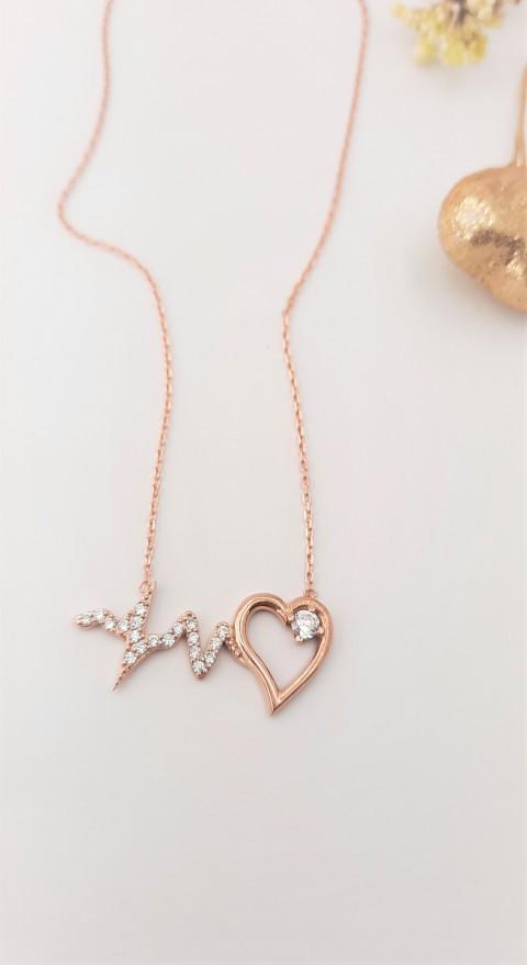 Kalp Atışı Rosegold Gümüş Kolye