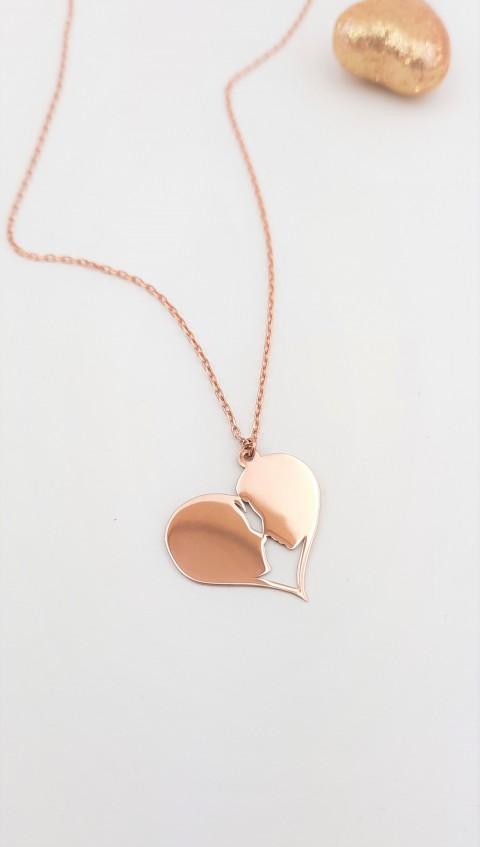 Kalp İçinde Sevgililer Rosegold Gümüş Kolye