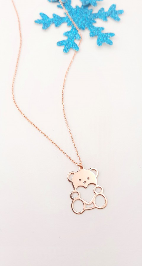 Kalpli Ayıcık Rosegold Gümüş Kolye