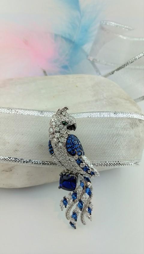 Kuvars Taşlı Tasarım Papağan Gümüş Broş