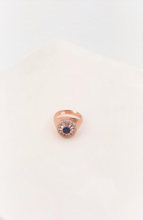 Lacivert Taşlı Ve Baget Taşlı Gümüş Serçe Parmak Yüzüğü