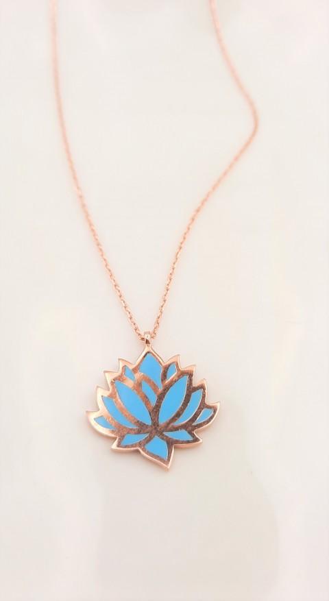 Mavi Mineli Lotus Çiçeği Gümüş Kolye