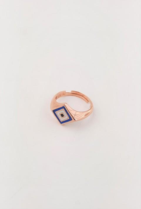 Nazar Motifli Gümüş Serçe Parmak Yüzüğü