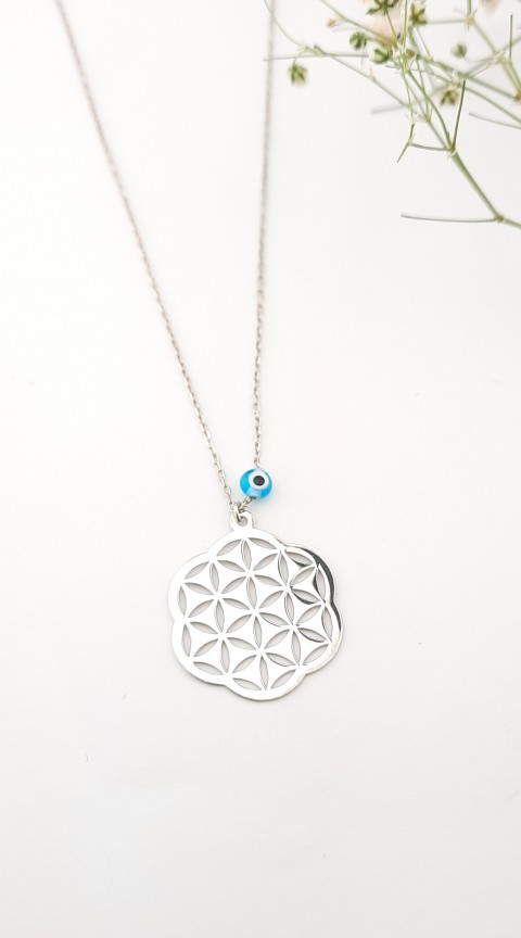 Nazar Boncuklu Yaşam Çiçeği Gümüş Kolye