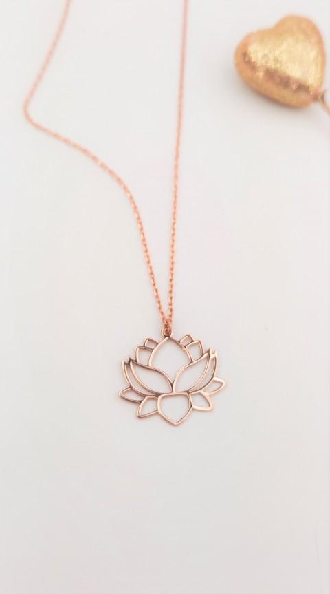 Origami Lotus Çiçeği Rosegold Gümüş Kolye
