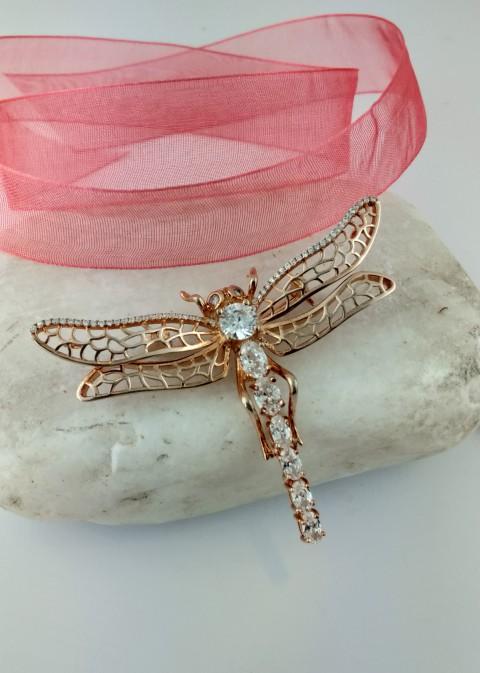 Özel Tasarım Rosegold Yusufçuk Gümüş Broş