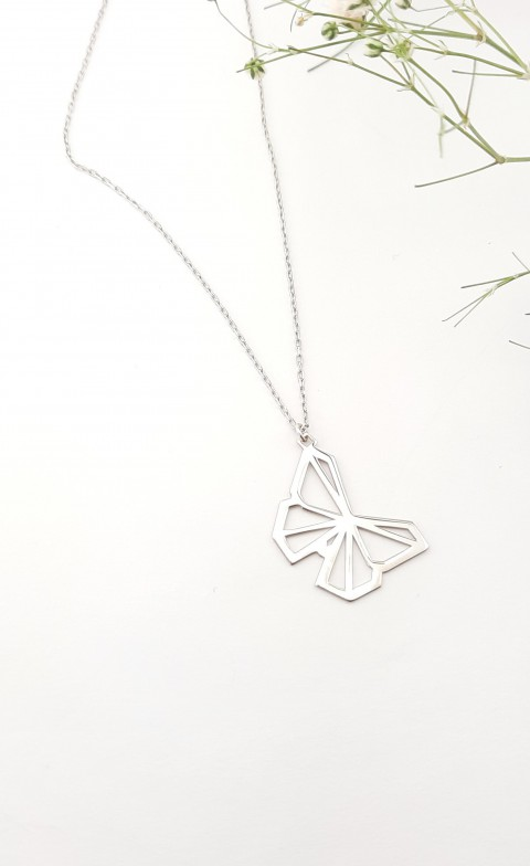 Origami Kelebek Gümüş Kolye