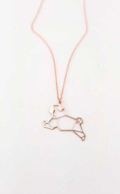 Origami Köpek Rosegold Gümüş Kolye