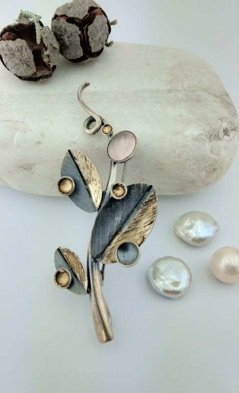 Pembe Kuvars Taşlı Tasarım Gümüş Broş