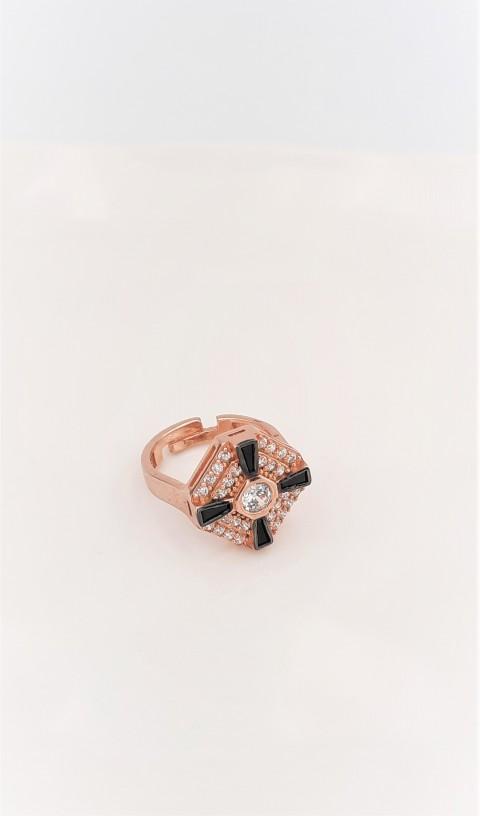 Siyah Taşlı Sekizgen Rosegold Gümüş Serçe Parmak Yüzüğü