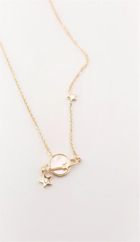 Sedef Taşlı Minik Satürn Gümüş Kolye
