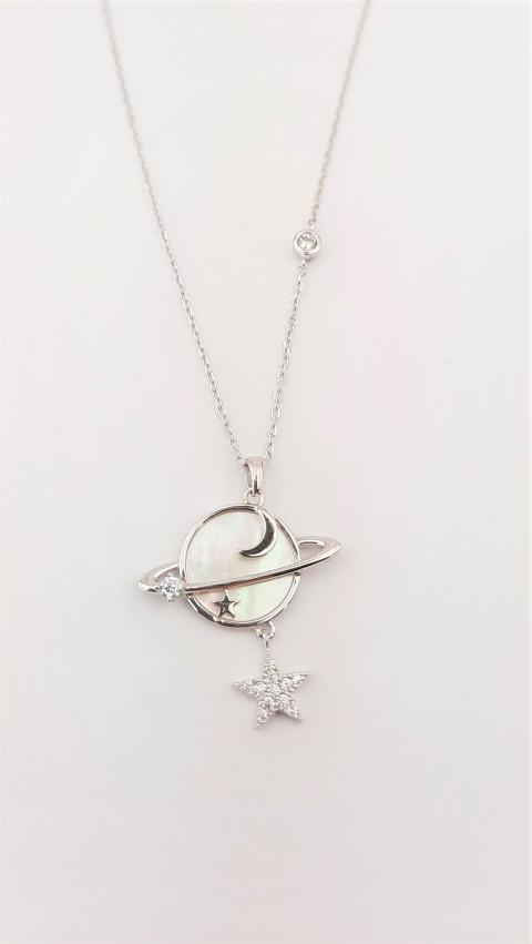 Sedef Taşlı Satürn Gümüş Kolye