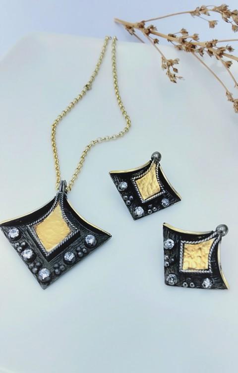 Tasarım Altın Plakalı Gümüş Kolye Ve Küpe
