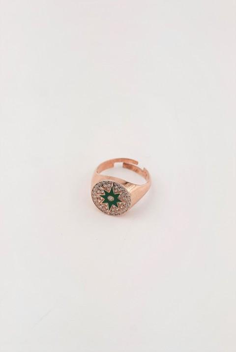Yeşil Mineli Ve Taşlı Gümüş Serçe Parmak Yüzüğü