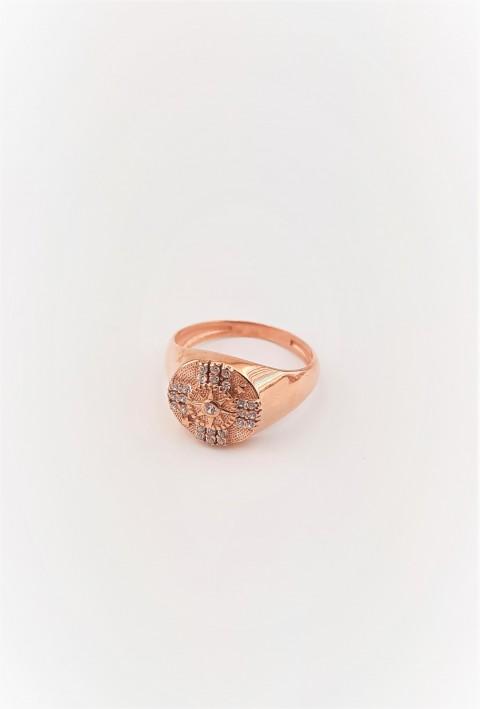 Yıldız Desenli Taşlı Serçe Parmak Yüzüğü
